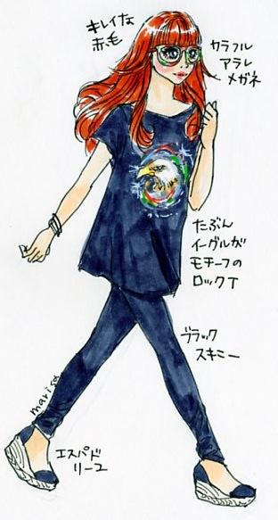 カラフルメガネとROCKなTシャツ:イラストスナップ@新宿西口
