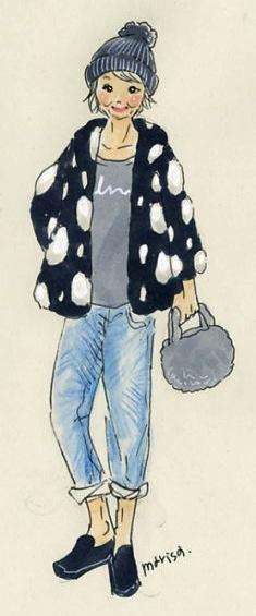 カジュアルキュートなおばあちゃん: イラストスナップ@横浜