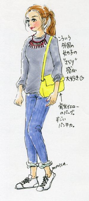さらっとしたお洒落が素敵な外国の女の子:イラストスナップ@渋谷