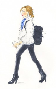 ファージャケットとパンツ、白と黒:イラストスナップ@新宿