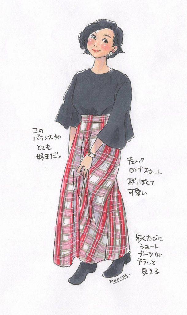 秋のロングスカートコーデ:イラストおしゃれスナップ@世田谷
