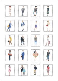 おしゃれなファッションイラストの切手風シール
