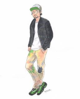 ライダースジャケットを着たおしゃれな男性のコーディネートイラスト