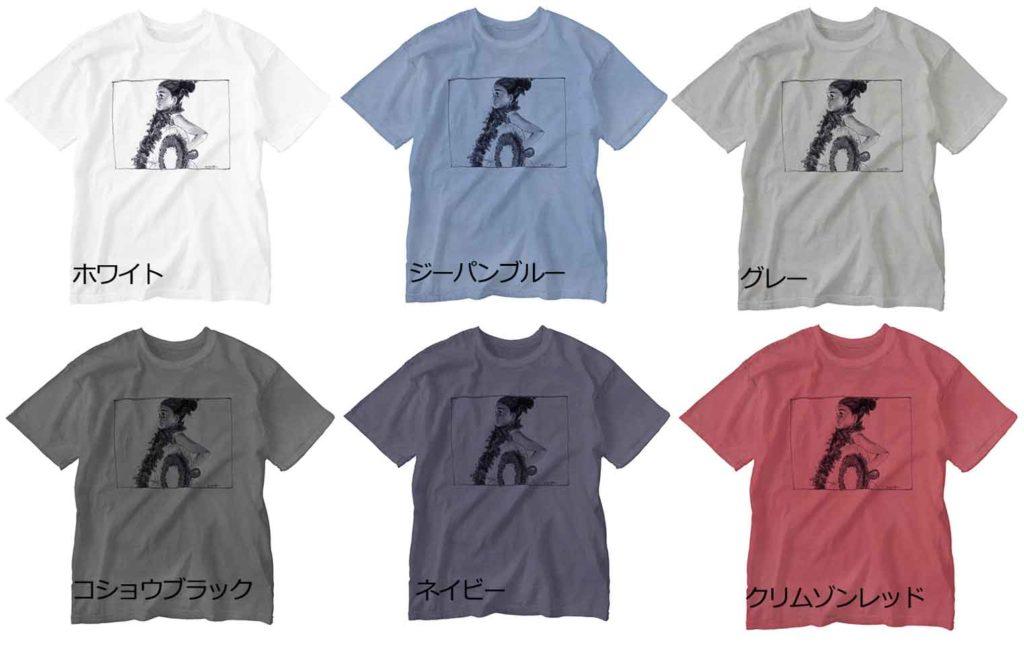 フラダンスを踊るフラガールのイラストTシャツ(手書き)
