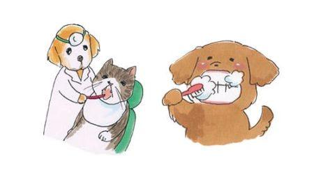 犬と猫の歯磨きのイラスト
