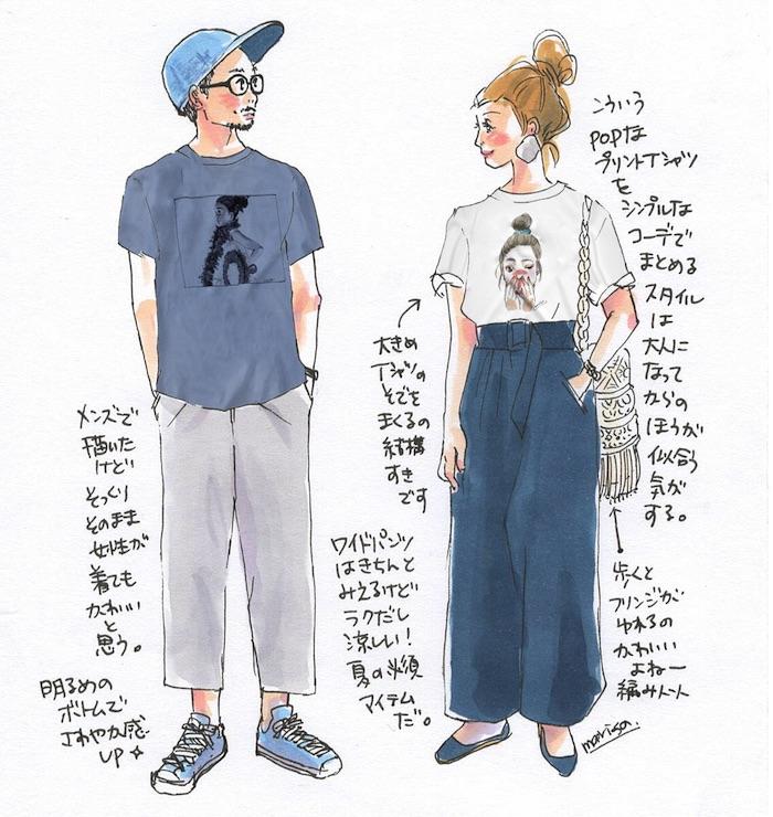 夏のおしゃれなTシャツコーデのイラスト