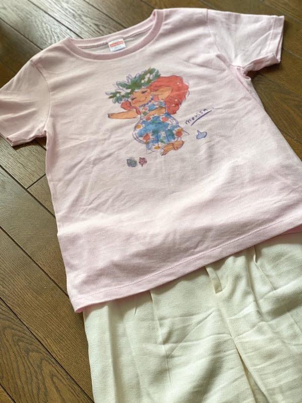 かわいいプリントTシャツのコーデ