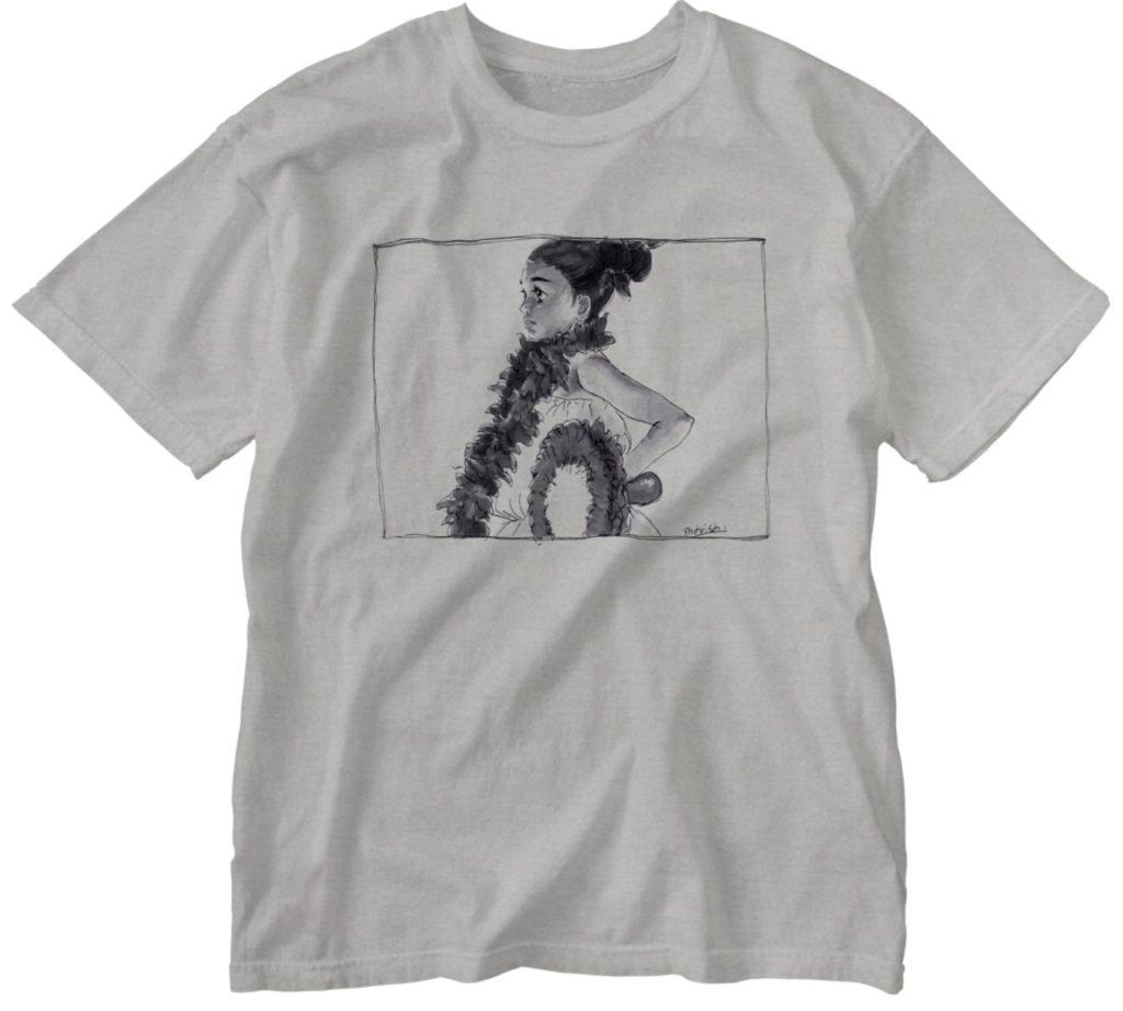 フラダンスを踊る手書きイラストのTシャツ