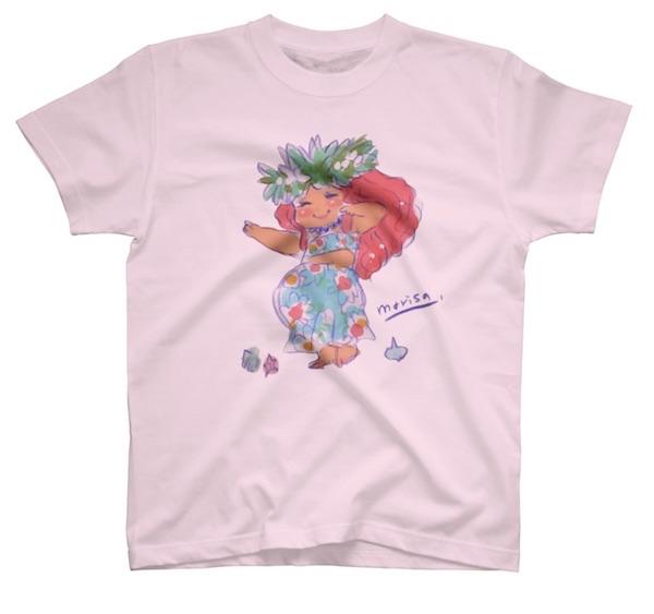 楽しくフラダンスを踊るかわいいフラガールのイラストTシャツ