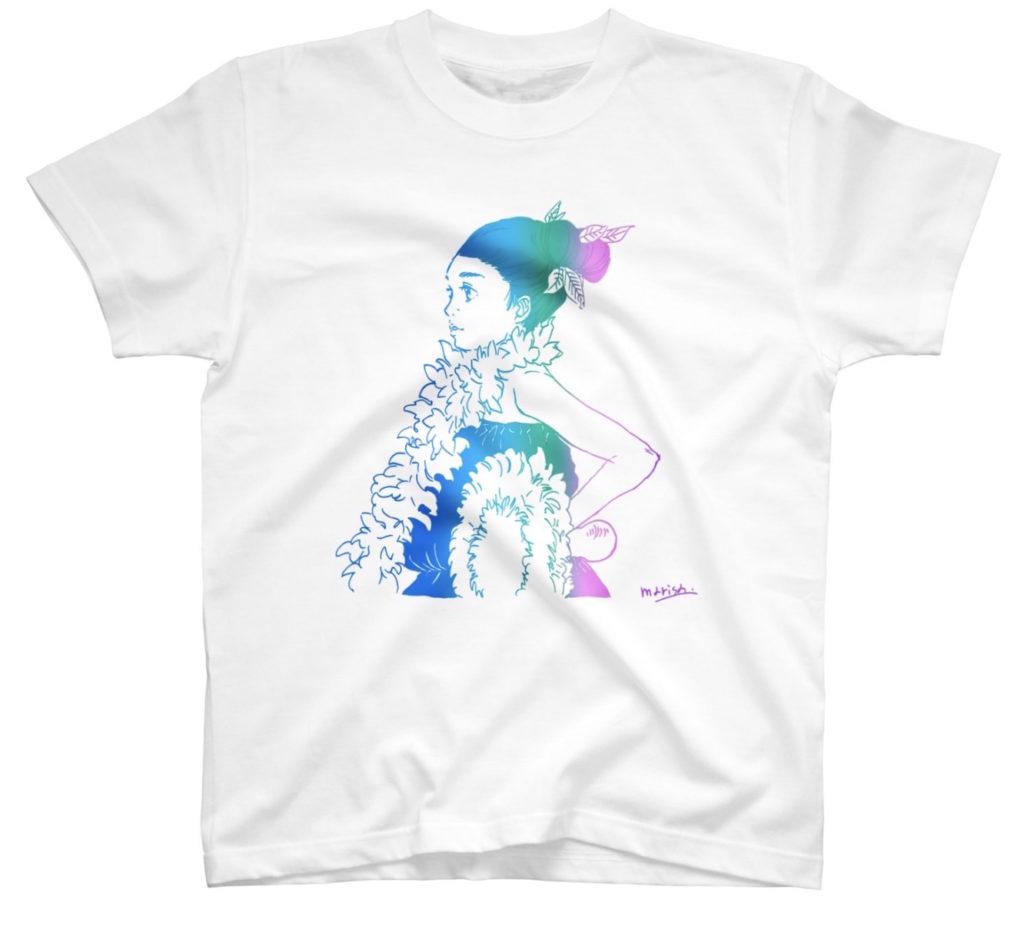 フラダンスを踊るフラガールのイラストTシャツ