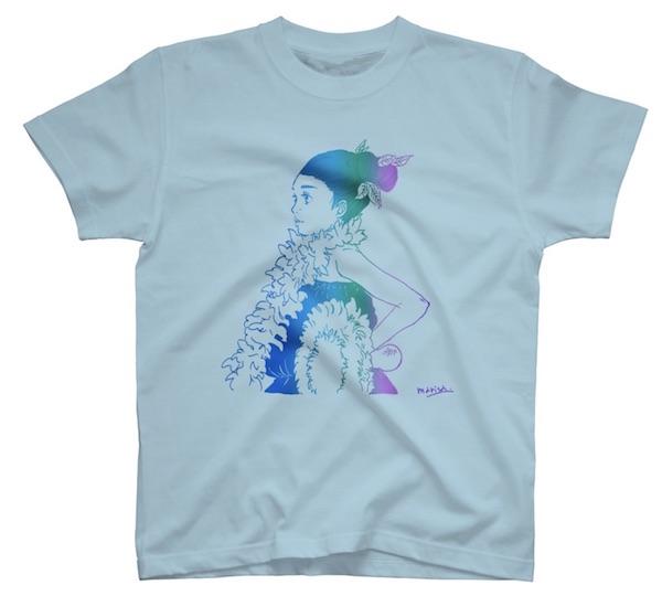フラガールイラストのフラダンスTシャツライトブルー